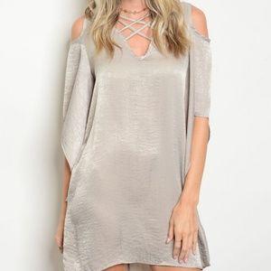 Dresses & Skirts - Silver cold shoulder dress